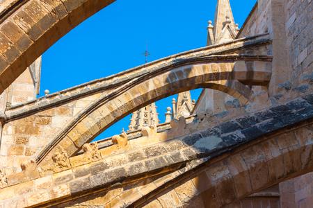 Terraces of the Cathedral of Santa Maria of Palma, also known as La Seu. Palma, Majorca, Spain Stock Photo - 105487515