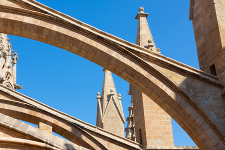 Terraces of the Cathedral of Santa Maria of Palma, also known as La Seu. Palma, Majorca, Spain Stock Photo