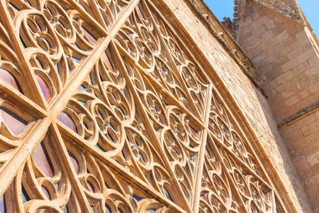 Details of the rose window of the Cathedral of Santa Maria of Palma, also known as La Seu, from the outside. Palma, Mallorca, Spain