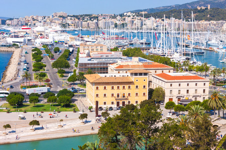 View of the port of Palma with luxury yachts from the terrace of the Cathedral of Santa Maria of Palma, also known as La Seu. Palma, Mallorca, Spain