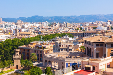 View over the rooftops  of Palma and Tramuntana mountains from  the terrace of the Cathedral of Santa Maria of Palma, also known as La Seu