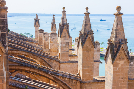 View over the sea with some boats from the terrace of the Cathedral of Santa Maria of Palma, also known as La Seu. Palma, Majorca, Spain Stock Photo