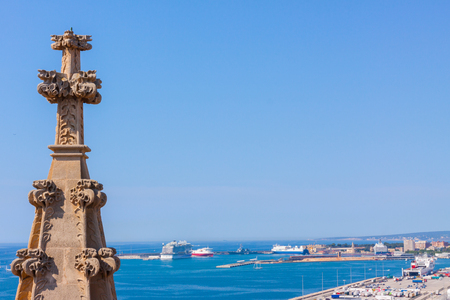 View over the sea from the terrace of the Cathedral of Santa Maria of Palma, also known as La Seu. Palma, Majorca, Spain Stock Photo