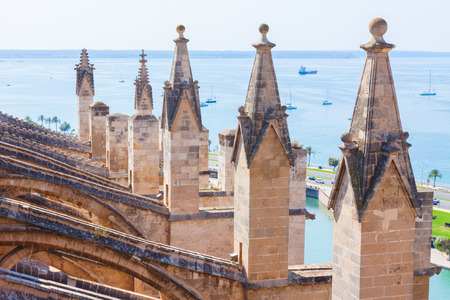 Seaview from the terrace of the Cathedral of Santa Maria of Palma, also known as La Seu. Palma, Majorca, Spain Stock Photo