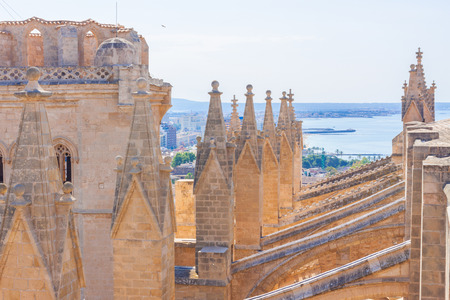 View from the terrace of the Cathedral of Santa Maria of Palma, also known as La Seu. Palma, Majorca, Spain Stock Photo