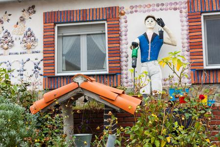 Unusual scarecrow in a garden