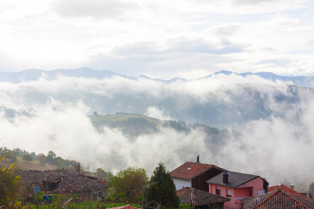 Misty mountain landscape in Tineo, Asturias, Spain