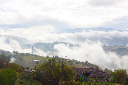 Low clouds and fog in the mountains in Tineo, Asturias, Spain