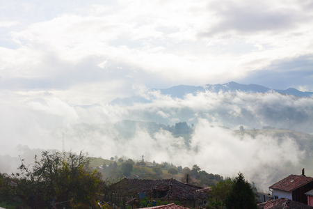 Mountains in the fog in Tineo, Asturias, Spain Stock Photo - 107711327