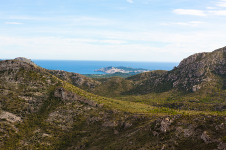 Ladscape with mountains and the sea in the background near Arta, Mallorca, Spain Stock Photo - 107711313