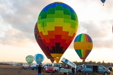Manacor, Mallorca, Spain - October 27, 2019:  FAI European Hot Air Balloon Championship in Spain. Balloons rising up in the air Editorial