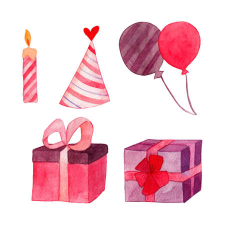 Birthday objects watercolor illustration. Cute pink elements for invitation, decoration.