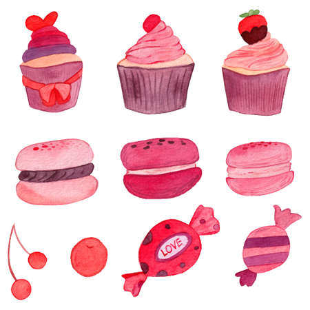 Set of cupcakes, macarons and candies for decoration. Pink purple cute watercolor illustration. 矢量图像