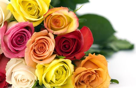 Beautiful bouguet of mixed roses in vibrant colors that just spakle with love, affection, beauty, caring.  Speaks of mothers day, valentines, day, birthdays, girlfriends and lovers Stock Photo