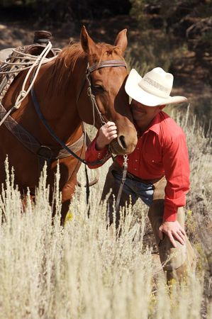 Cowboy and his companion Stock Photo