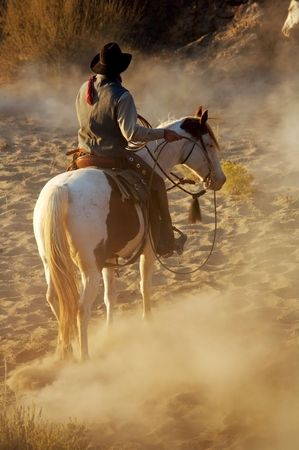 Cowboy riding his horse in the desert