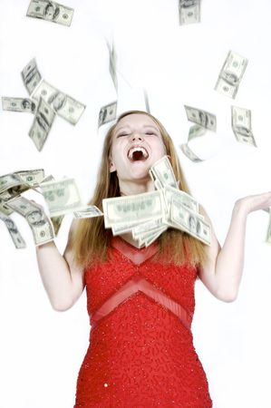 beautiful girl who just won the lottery Stock Photo