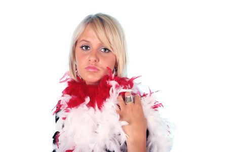 Pretty blond wearing a red and white boa with a pouty look on her face  photo