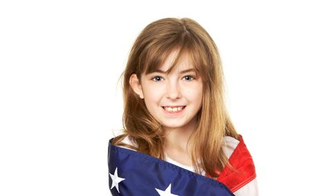 Pretty young child wrapped in a American Flag photo
