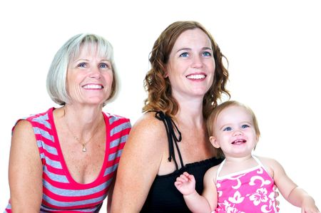 Grandmother, her daughter and her grandaughter with big smiles on their faces Stock Photo - 3336094