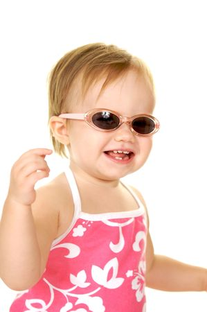 Cute little  girl wearing sunglasses and smiling Stock Photo