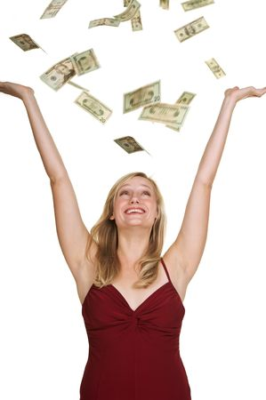 Beautiful blond in red dress on white background with hundred and twenty dollars bills falling around her Stock Photo