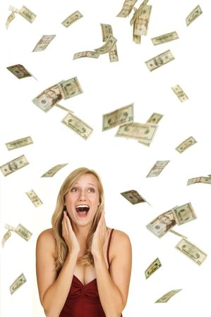 jackpot: Beautiful blond in red dress on white background with hundred and twenty dollars bills falling around her Stock Photo