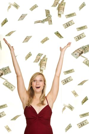 Beautiful blond in red dress on white background with hundred and twenty dollars bills falling around her and a surprised look on her face
