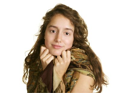 sweetness: Sweet natured girl wearing a scarf on a white background