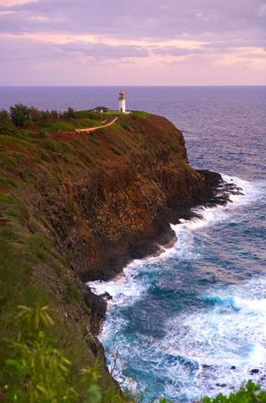 lighthouse on a cliff at sunset Stock Photo - 3780973