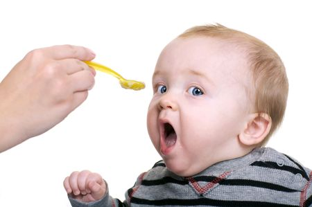 Hungry Baby Boy Stock Photo