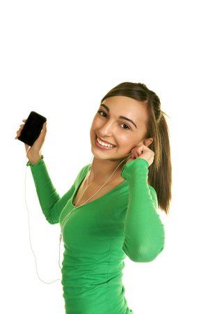 Brunette Teenager Listening to Music