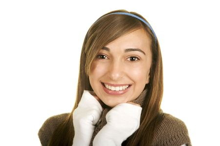 Portrait of a beautiful brunette teenage girl with a nice smile Stock Photo