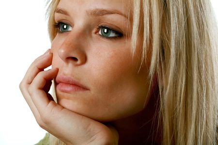 depressed blond woman Stock Photo - 3866559
