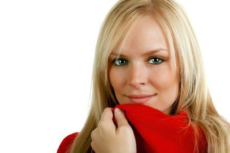 Beautiful blond in a scarlet sweater