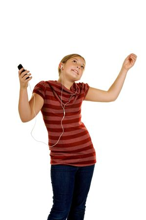 cute girl rocking out to music Stock Photo - 3866524