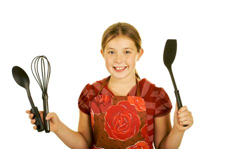cute young brunette cook Stock Photo