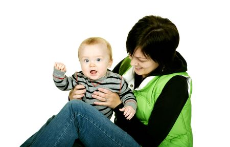 baby boy and mama having fun together Stock Photo