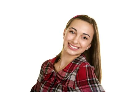Portrait of a beautiful brunette teenage girl with a nice smile Stock Photo - 3992840
