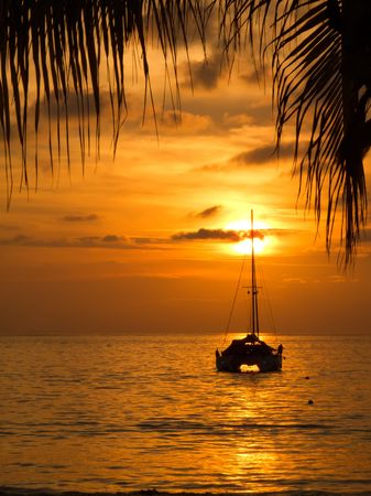 Sunset with sailboat and palm tree sihouetted in Zihuatanejo, Mexico
