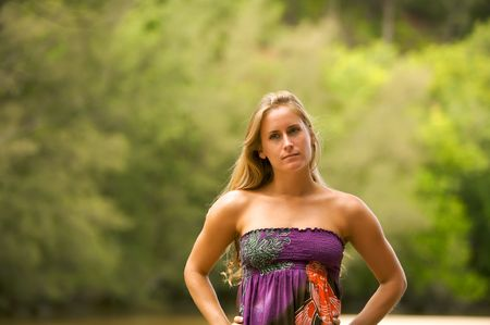 Beautiful Blond Woman Outside