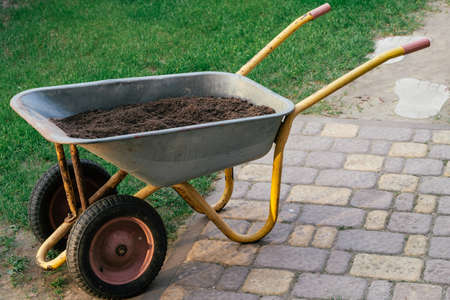Cart with soil on paving slabs next to green lawn. Wheelbarrow with earth for gardening Archivio Fotografico