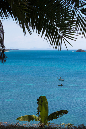 a beautiful beach of nosy be a magagascar with a beautiful pontoon and beautiful seabed Stock Photo