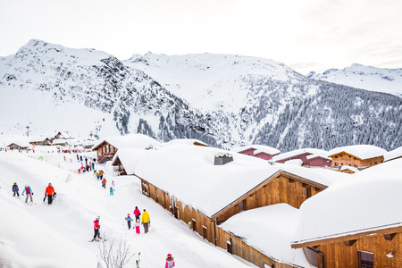 The Haute Tarentaise is a territory renowned for its world-famous ski resorts, Tignes, Val dIsere, Les Arcs, Villaroger and La Rosiere. It is a destination that attracts many vacationers every winter Reklamní fotografie - 93557883