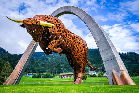 statue of a bull on the red bull ring, spielberg circuit, notably receiving the grand prix of formula 1 and Moto GP