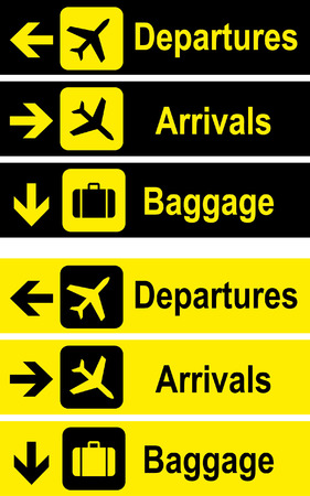 Airport signs, departures and arrivals