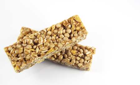 Granola bar, healthy snack over a white background Zdjęcie Seryjne
