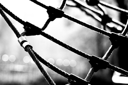 spiderman: a rope net on the childrens playground Stock Photo