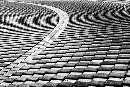 twisting: twisting to the left of the road harmoniously arranged stones
