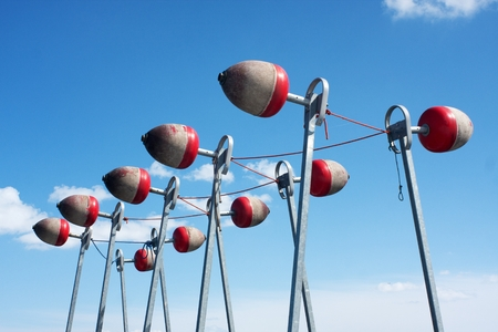 raised up for winter buoys to stabilize the pier for boats Stock Photo